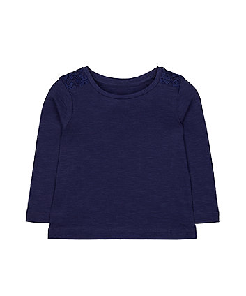 Mothercare Navy Crochet T-Shirt