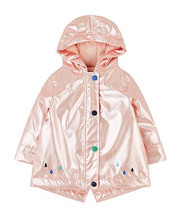 Pearl Pink Rainy Cloud Fleece-Lined Mac