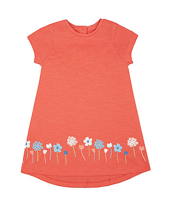 Mothercare Coral Puff Floral Border Dress