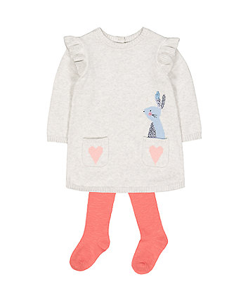 Mothercare Grey Bunny And Hearts Knitted Dress