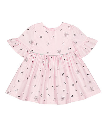 Mothercare Pink Stars Flute-Sleeved Dress