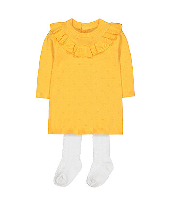 Mothercare Mustard Knitted Frill Dress