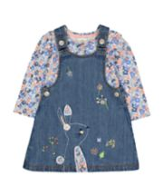 Mothercare Denim Bunny Pinny And Floral T-Shirt Set