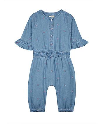 Mothercare Blue Floral Denim Jumpsuit
