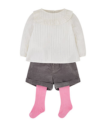 Mothercare Stripe Blouse, Grey Shorts And Pink Tights Set