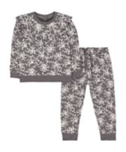 Grey Floral Frill Sweat Top And Joggers Set