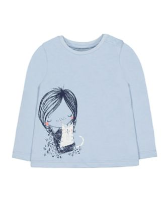 Mothercare Prairie Blue Girl And Cat Long Sleeve T-Shirt
