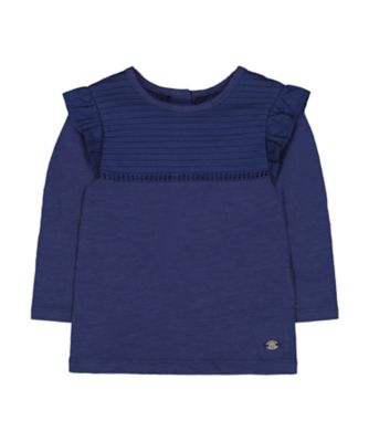 Mothercare Prairie Navy Frill Long Sleeve T-Shirt