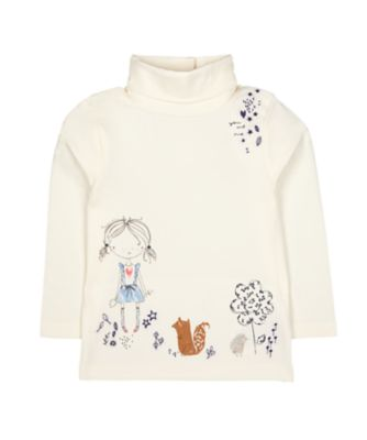 Mothercare Prairie Cream Girl And Woodland Animal Roll-Neck Jumper