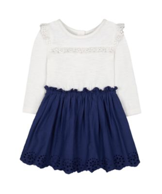 Mothercare Prairie Cream And Navy Scallop Hem Twofer Dress