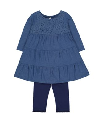 Mothercare Prairie Blue Broderie Tiered Dress And Navy Leggings Set