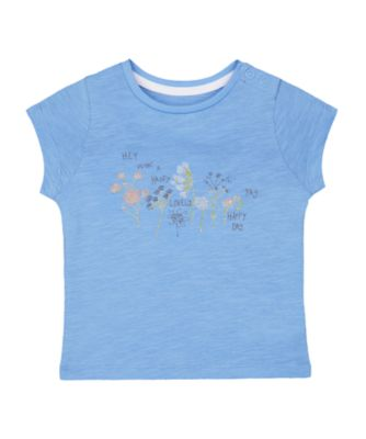 Mothercare Flower Market Blue Floral Happy Day Short Sleeve T-Shirt