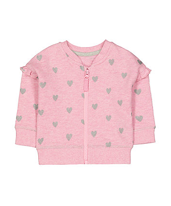 Mothercare Pink Glitter Heart Frill Zip-Through Sweat Top