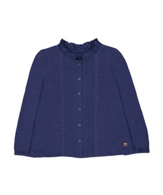 Mothercare Prairie Navy Pleats Long Sleeve T-Shirt