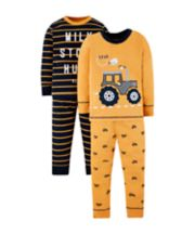 Mothercare Mustard Tractor Pyjamas - 2 Pack