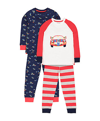 Mothercare Racing Car Pyjamas - 2 Pack