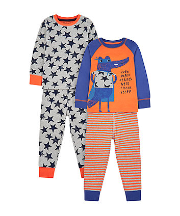 Mothercare Superhero Croc Pyjamas - 2 Pack