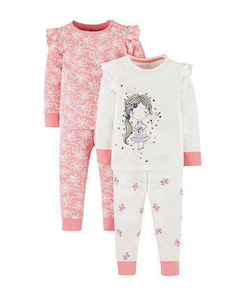 Mothercare Pink Floral And Pretty Girl Pyjamas - 2 Pack