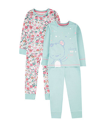 Mothercare Turquoise Teddy Bear And Floral Pyjamas - 2 Pack