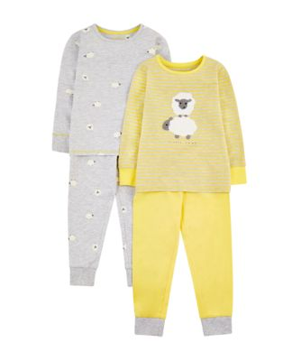 Mothercare Yellow And Grey Sheep Pyjamas - 2 Pack