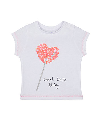 Mothercare Glitter Heart Lolly Sweet Little Thing T-Shirt