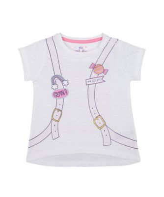 Mothercare MC61 White Cute Backpack Short Sleeve T-Shirt