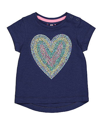 Mothercare Navy Sequin Heart T-Shirt