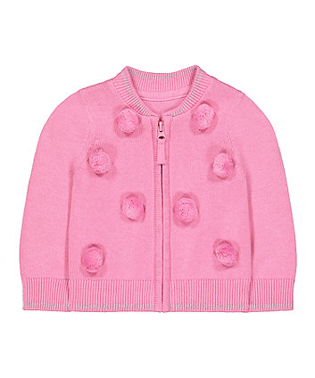 Mothercare Pink Pom Pom Zip-Through Cardigan