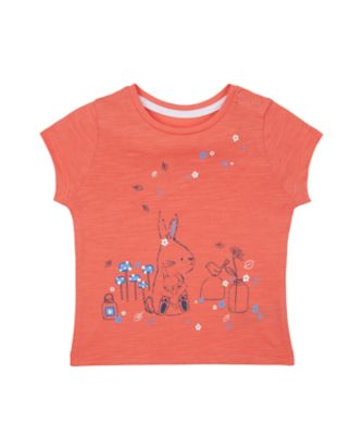 Mothercare Flower Market Coral Bunny Short Sleeve T-Shirt