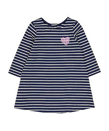Mothercare Navy Stripe Sequin Heart Dress
