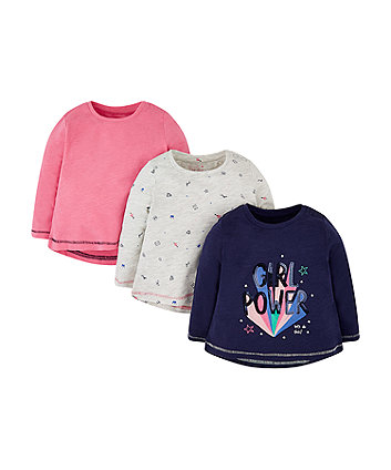 Mothercare Navy Sequin Girl Power, Pink And Grey T-Shirts - 3 Pack