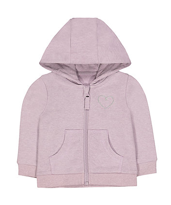Mothercare Lilac Marl Silver Heart Zip-Through Hoodie