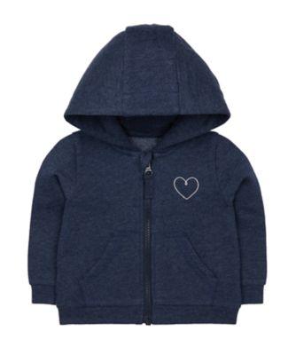 Mothercare Promo Navy Silver Heart Zip-Through Hoodie
