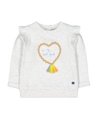 Mothercare Pastel Plains Heart Best Friend Frill Sweat Top