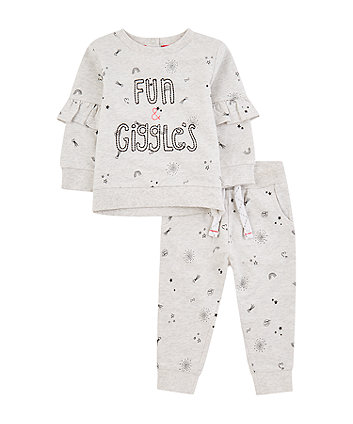 Mothercare Grey Marl Fun Sweat Top And Joggers