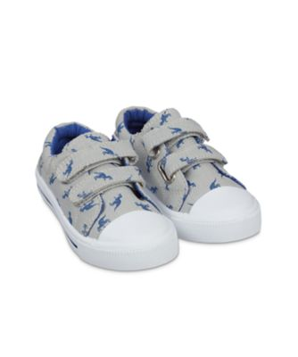Mothercare Back To Nursery Grey Dino Canvas Trainers