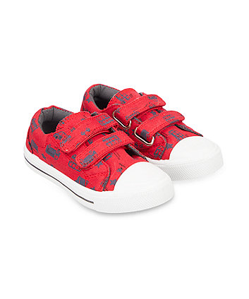 Mothercare Back To Nursery Red Bus Canvas Trainers