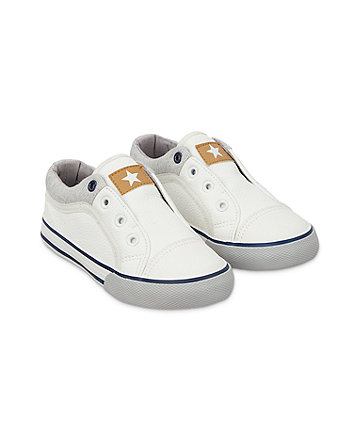 Mothercare White Laceless Trainers