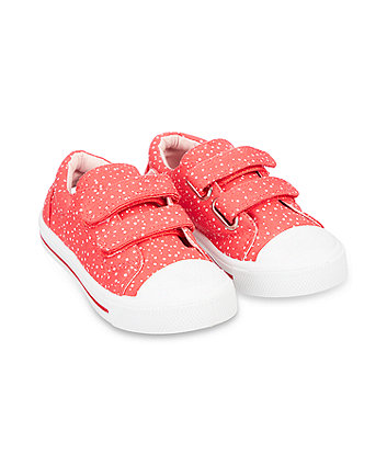 Mothercare White Spotted Canvas Shoes - Red