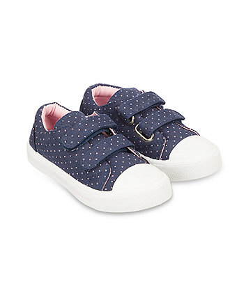 Mothercare Back To Nursery Pink Spot Canvas Trainers