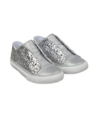 Mothercare Silver Glitter Laceless Trainers