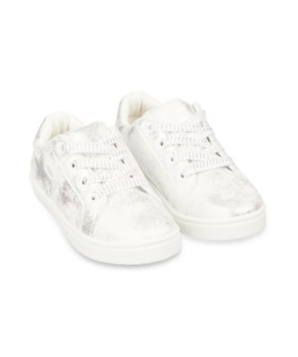 Mothercare White Shimmer Star Canvas Trainers