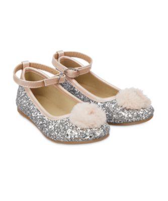 Mothercare Silver Glitter Pom Ballerina Shoes