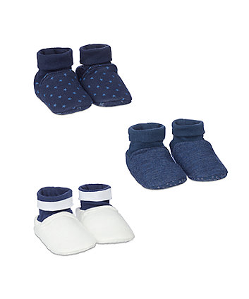Mothercare My First Blue Sock Top Baby Booties - 3 Pack