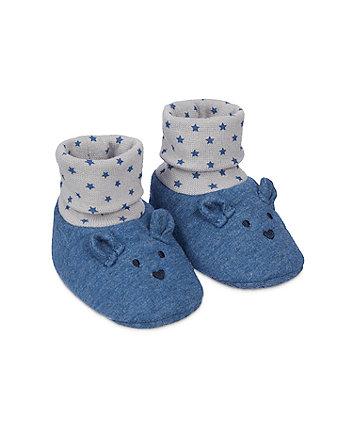 Mothercare Navy Bear Sock Top Booties