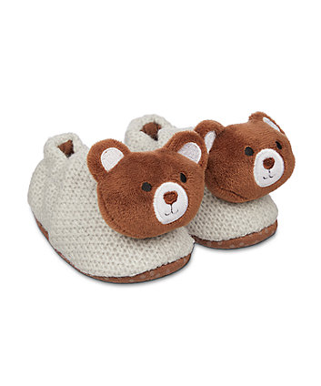 Mothercare Grey Knitted Bear Baby Slippers