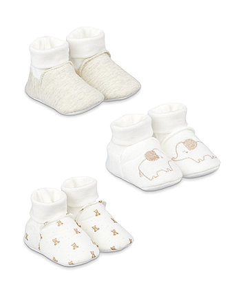 Mothercare My First Elephant Sock Top Baby Booties - 3 Pack