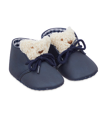 Mothercare Bear Lace Mocassin Shoes - Navy