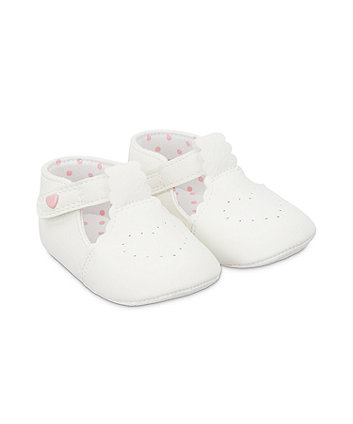 Mothercare Scallop T-Bar Shoes - White