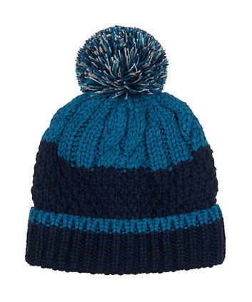 Mothercare Teal And Navy Cable-Knit Beanie Hat